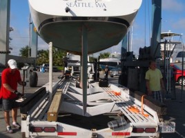 Loading Shearwater onto Ernst's custom trailer that has a keel box to accommodate deeper draft sailboats.